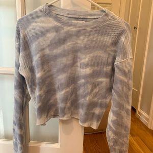 TNA cloud waffle crop top sweater